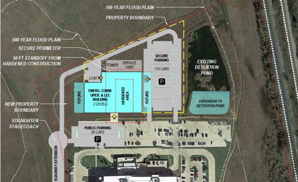 Proposed site plan for the HERO and Law Enforcement Center on the existing Hays County Government Center property.