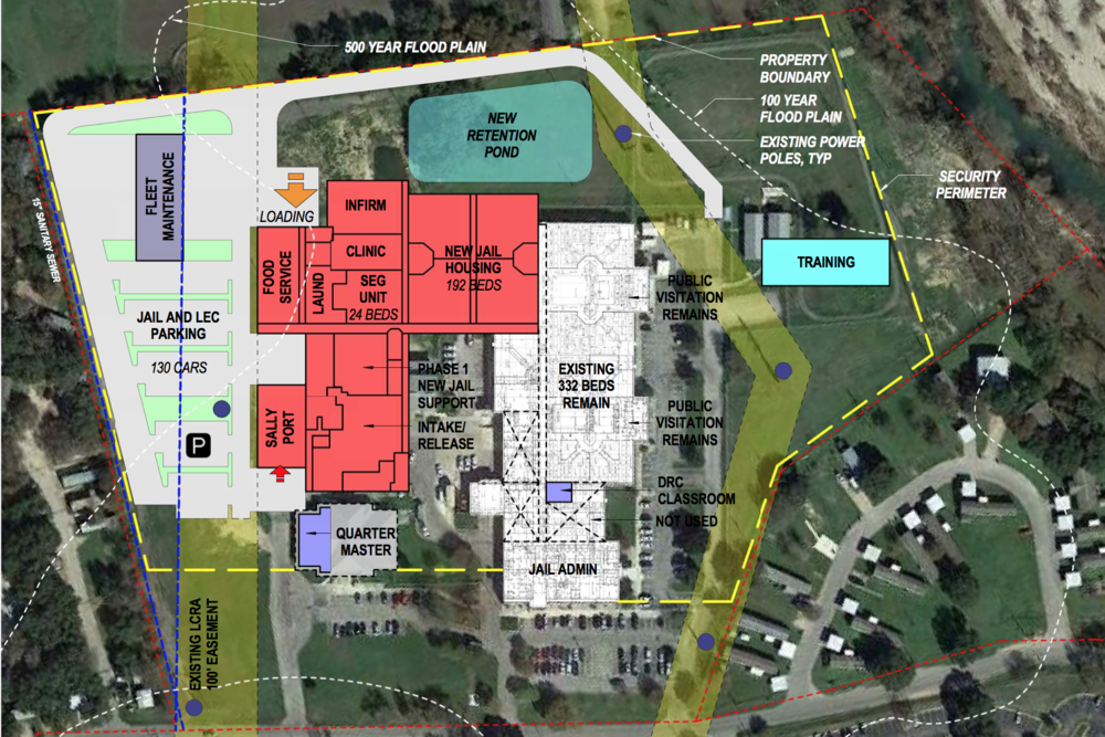 Concept plan showing the proposed renovation to the existing Hays County Jail Facility