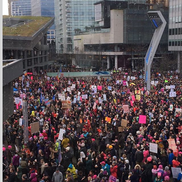 A sea of humanity in downtown Vancouver!