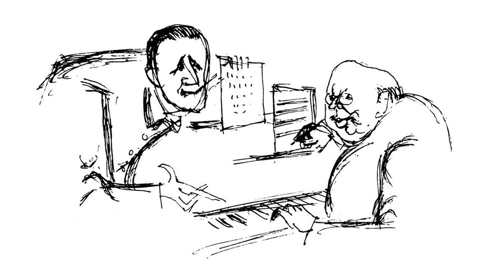 Bertolt Brecht and Hanns Eisler; drawing by Herbert Sandberg