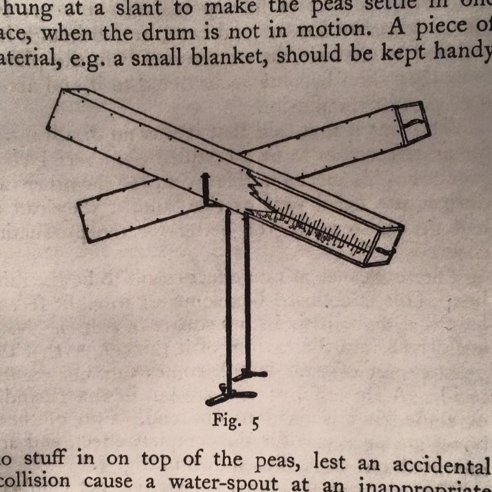 Drawing from Frank Napier's Noises Off .  This device was used to create the sound of rain.