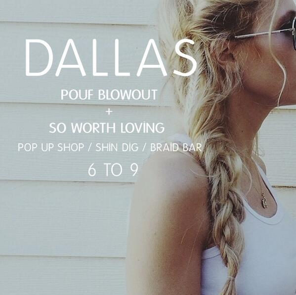 They say  everything is bigger in Texas ,   so this shin dig should be  HUGE .      If any of y'all are in or around the Dallas, Texas area, we would love to hear all about how you're doing!      So be at Pouf Blowout  TOMORROW, April 5th  at 6 o'clock for some love, some laughs, and some braids!   Can't wait to meet you!     Pouf Blowout:       5319 East Mockingbird Lane     Suite #125     Dallas, TX 75206
