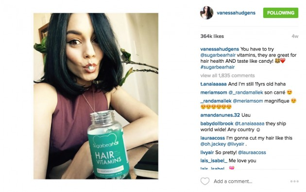 "Vanessa Hudgens promoting SugarBearHair ""cosmetic vitamins"". These types of beauty-based supplement brands are on the rise and have seen plenty of success with Instagram influencers."