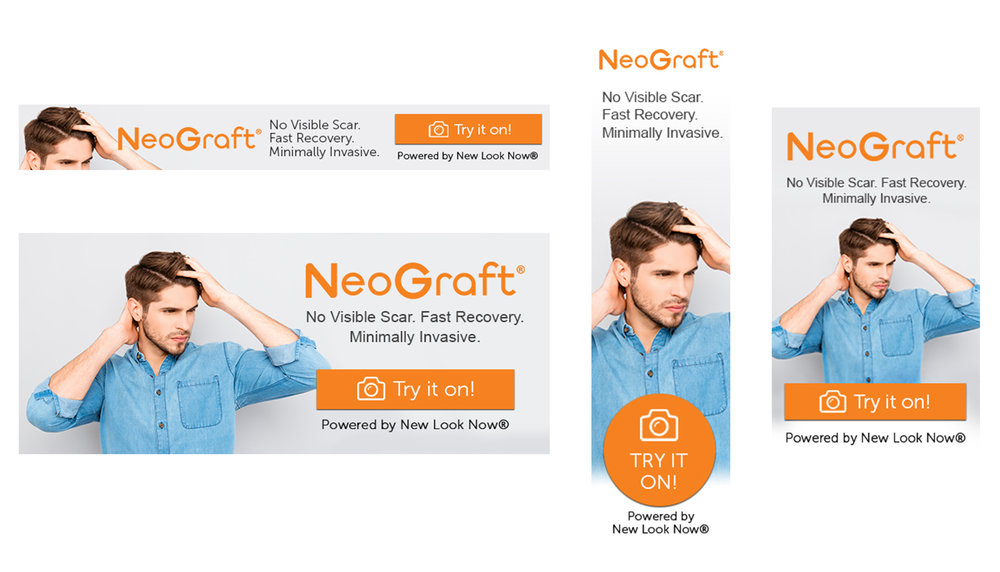 NeoGraft Web Banner Pack - Download your New Look Now® web banners, for use with the NeoGraft Visualizer! Upload any of the enclosed sizes as a banner on your website with a click through to your custom consumer link.
