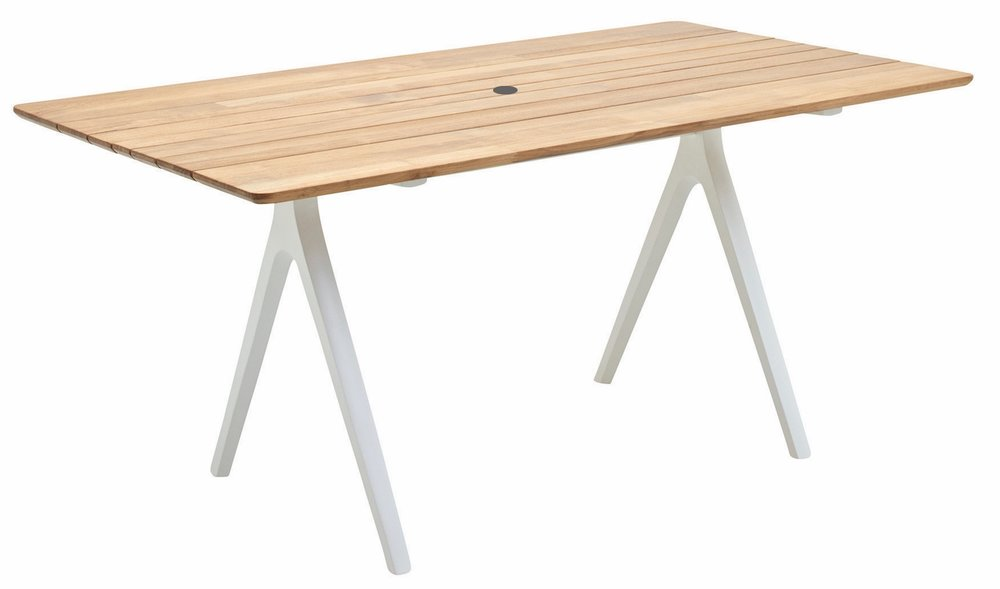 "Small Split Table, Teak/White (36"" x 67"")"