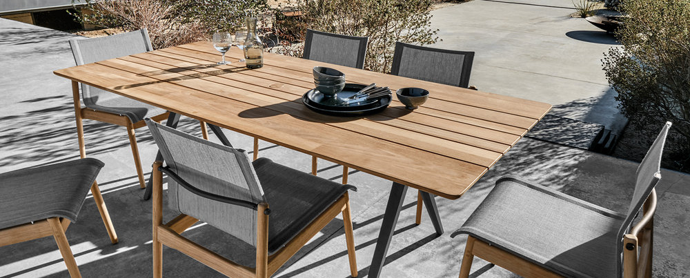 Gloster Split Teak Table + Sway Chairs
