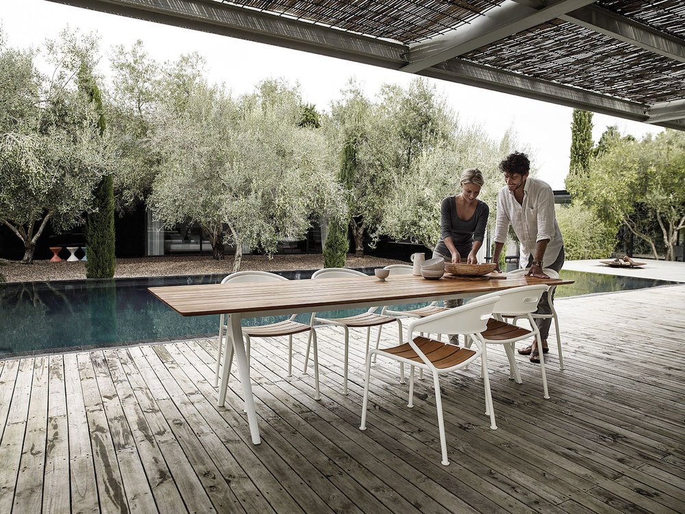 Gloster Split Teak Table + Curve Chairs