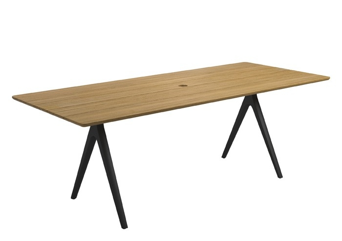 "Medium Split Table, Teak/Meteor (36"" x 86.5"")"