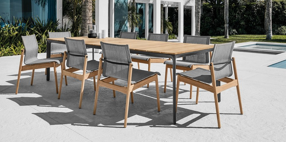 Gloster Sway Chairs + Gloster Carver Table