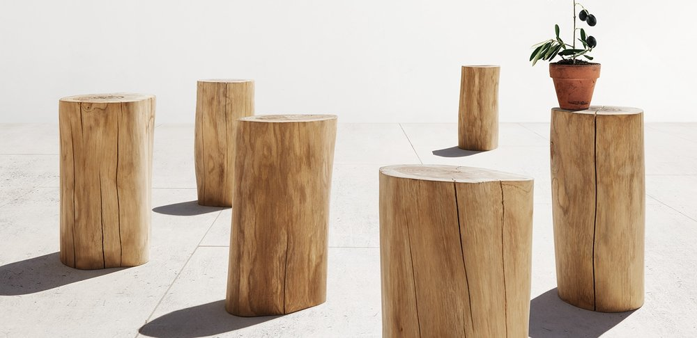 Gloster Raw Teak Log Stool/Side Table