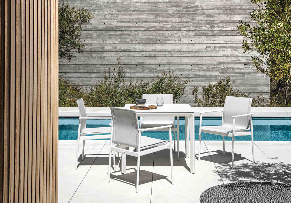 Bianco Gloster Ceramic Carver Table + Gloster 180 Chairs