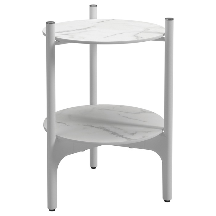Side Table, Bianco + White