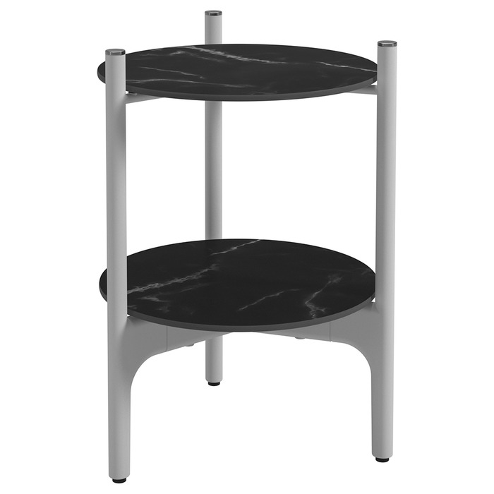 Side Table, Nero + White