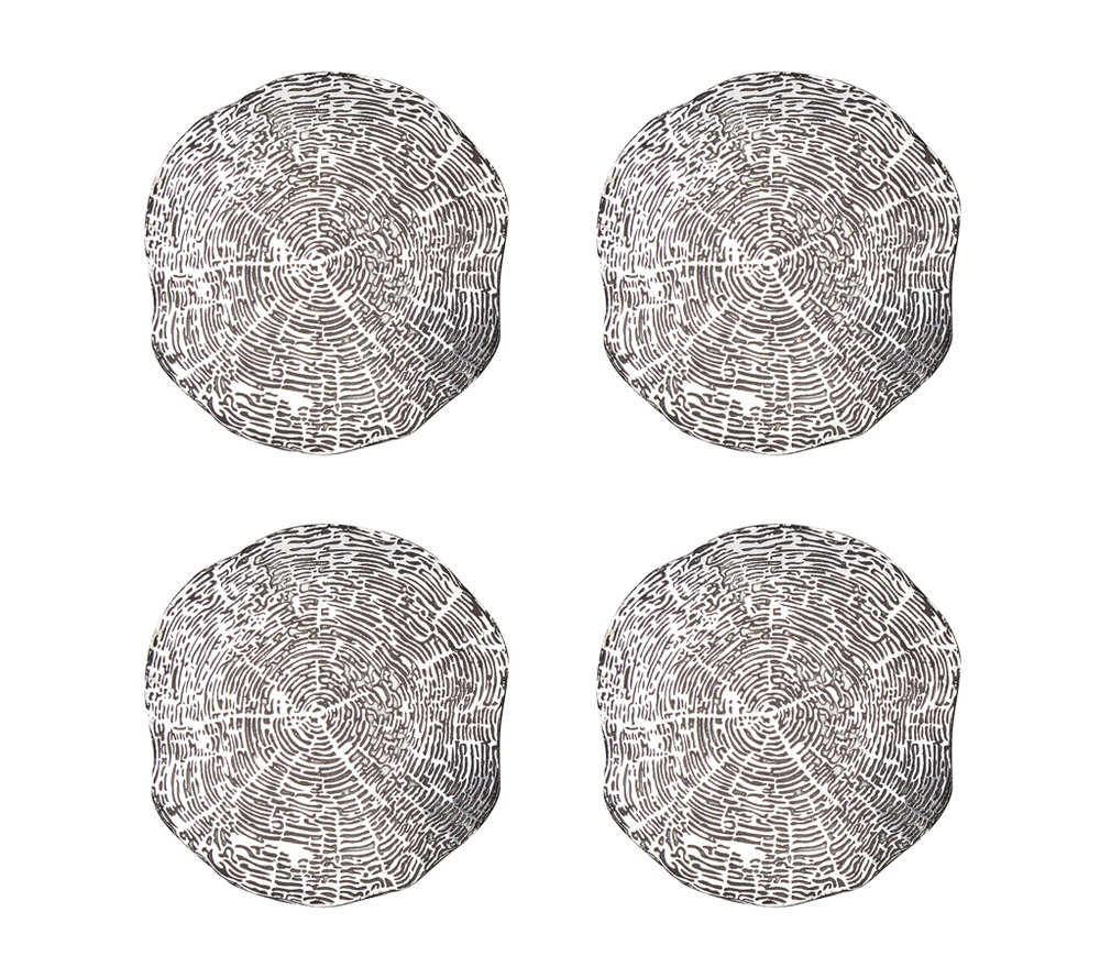Kim Seybert Silver Timber Coasters