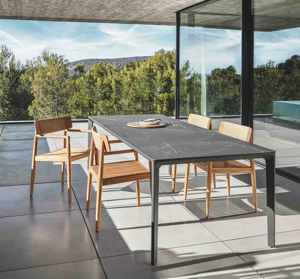 Gloster Ceramic Carver Table + Gloster Archi Chairs
