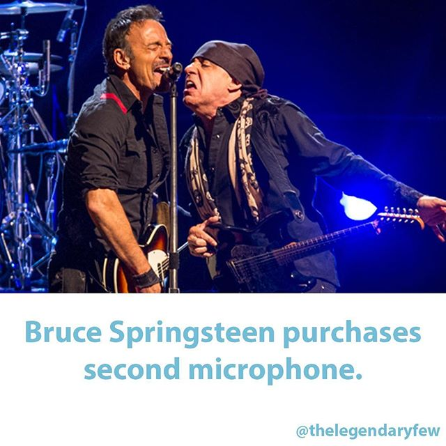 """Bruce Springsteen purchases second microphone."" #thelegendaryfew * * * #bruce #springsteen #microphone #brucespringsteen #music #meme #musician #singer #stage #live #theboss #funnynews #boss #purchase #estreetband #stevenvanzandt #rockandrollhalloffame #rockandroll #fakenews"