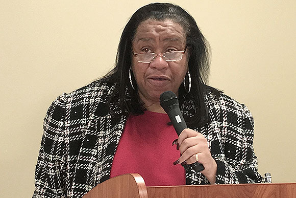 """Patricia Haynie addresses TACOM Life Cycle Management Command employees Jan. 10, 2017, at the Detroit Arsenal in observance of Martin Luther King Jr. Day. Haynie is the president of the Rev. Martin Luther King Jr. Task Force in Southfield, Mich."" - Photo & Article Credit: Cathy Segal, TACOM"