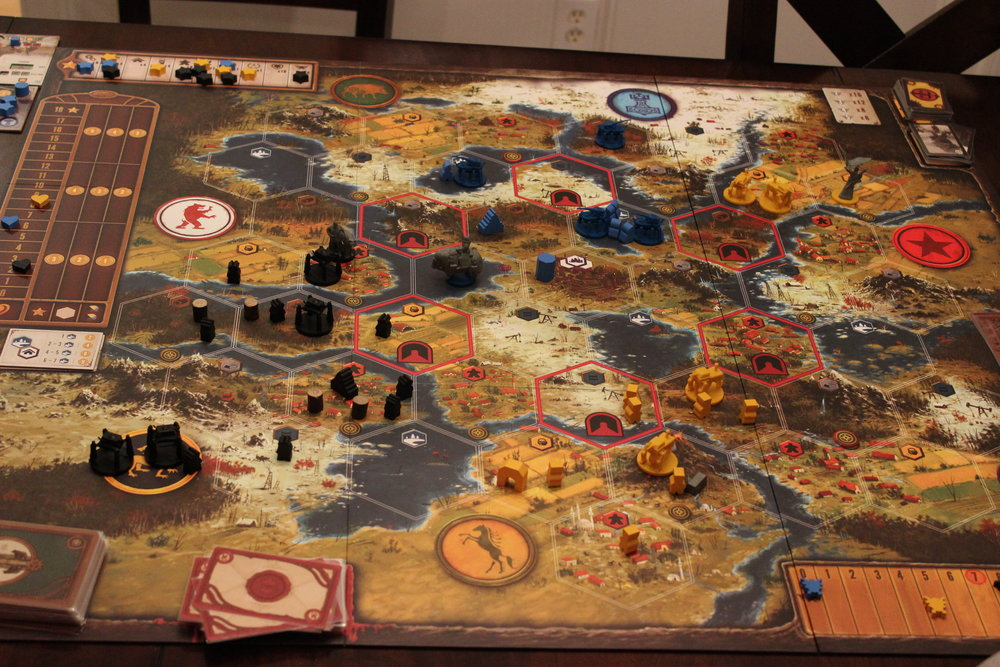 State of the board at the end of a three-player game.