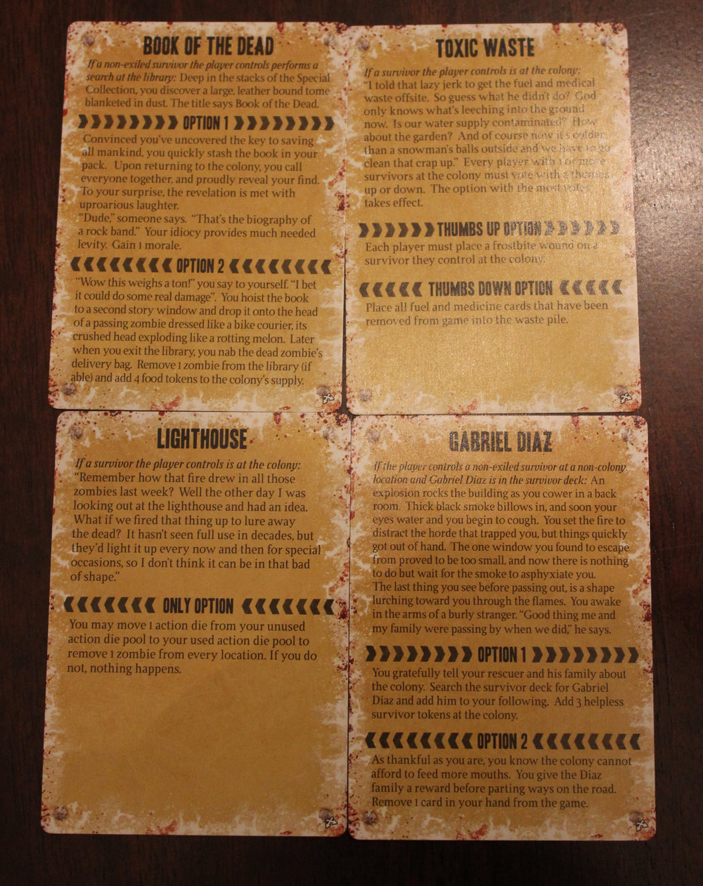Sample Crossroads cards.
