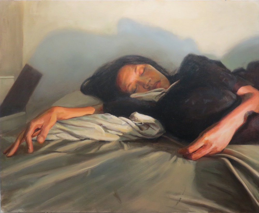 Impossibility to sleep under pressure, oil on Canvas, 58''x 72'',2015