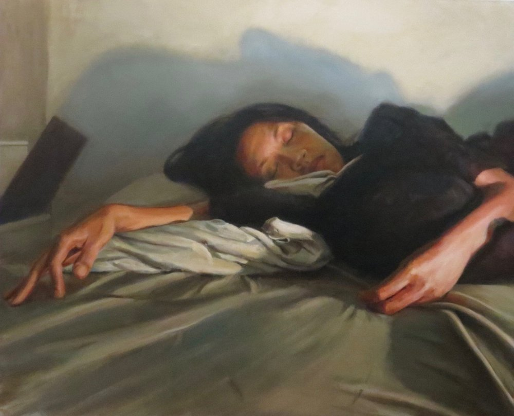 Impossibility to sleep under pressure, oil on canvas, 2015, 58''x72''.jpg