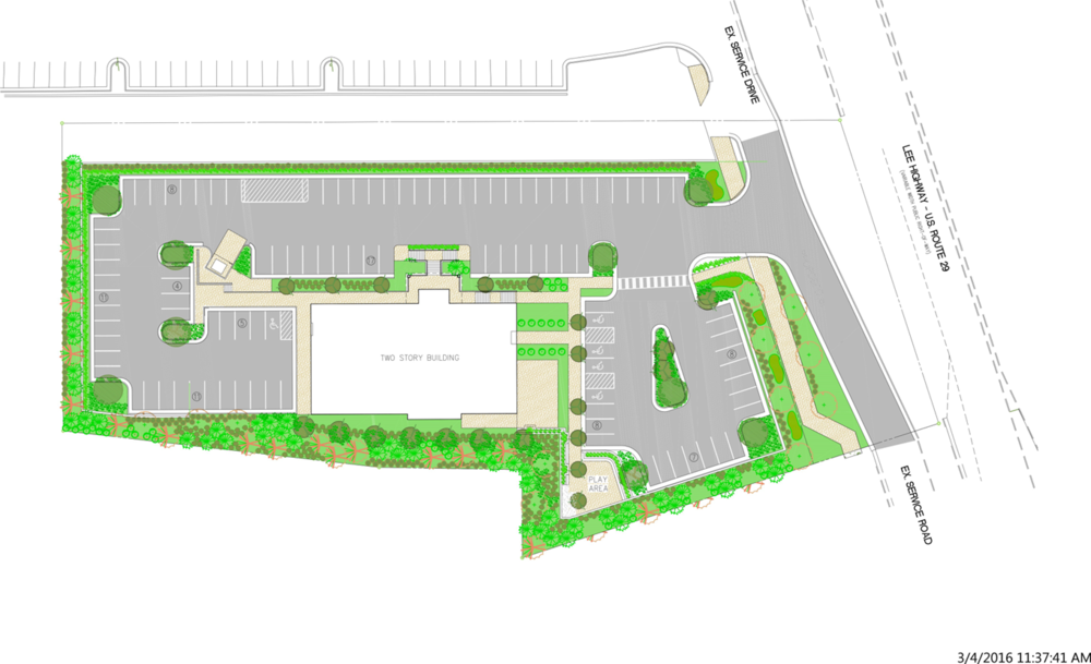 Satellite Point of View Rendering of the New Building