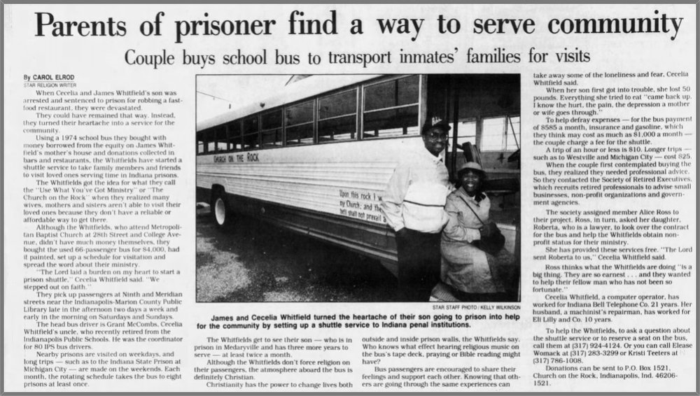 Article: parents of prisoner find a way to serve community