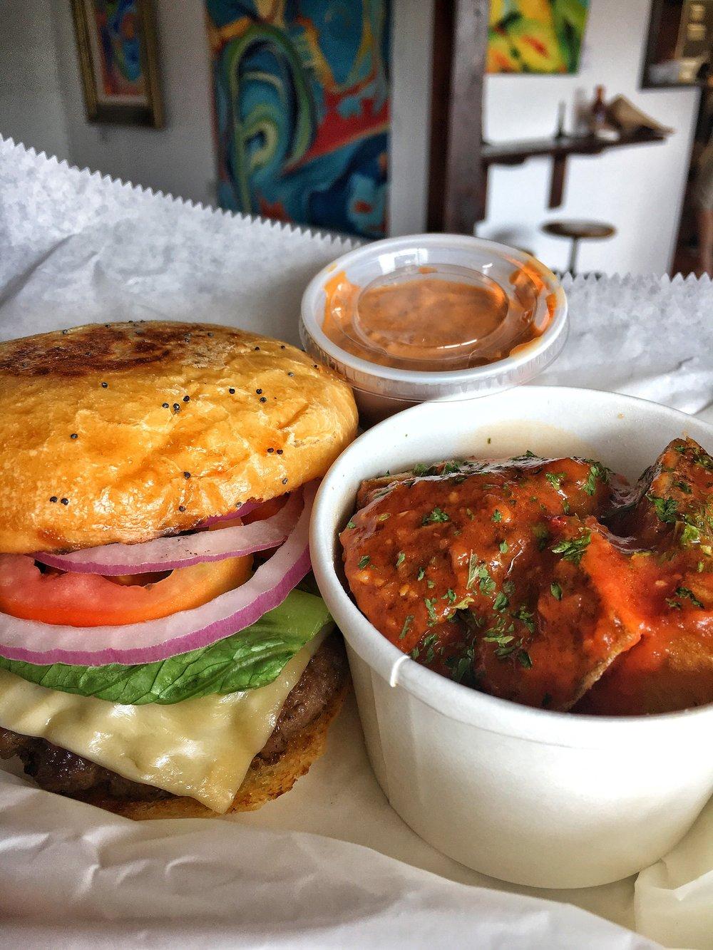 FFF Burger from ASADA with Papas Bravas + Morita Chile Mayo
