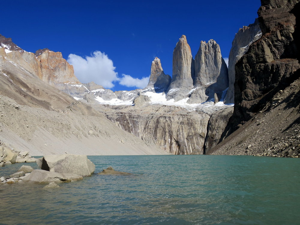 A full day's hike to the base of the towers in Torres Del Paine. No filters here--the water really is this milky turquoise color.