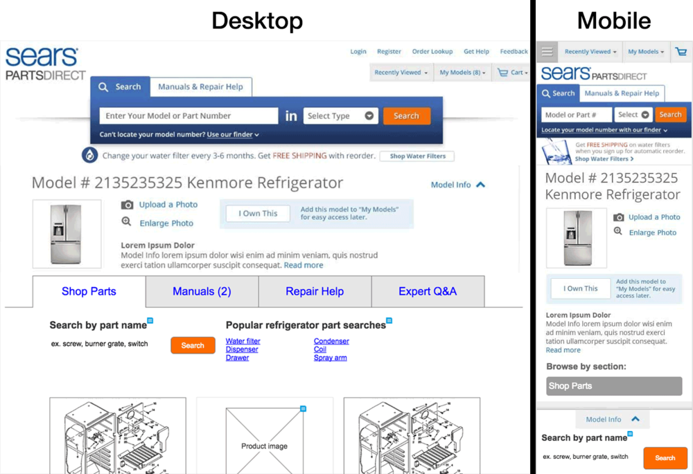 Some wire frames showing the desktop and mobile views of one page from Sears PartsDirect