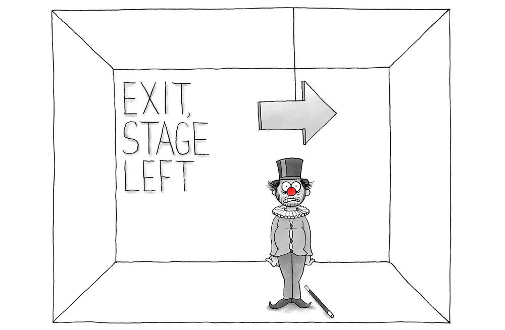 EXIT, STAGE LEFT