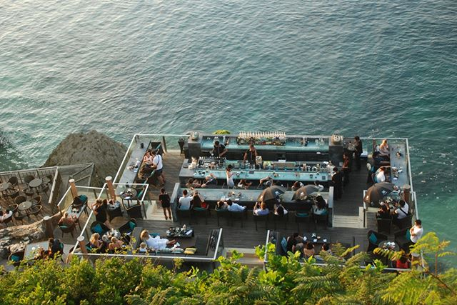 Another view of the amazing Rock Bar in Uluwatu, Bali.  Built out on to the rocks, at the bottom of a funicular.