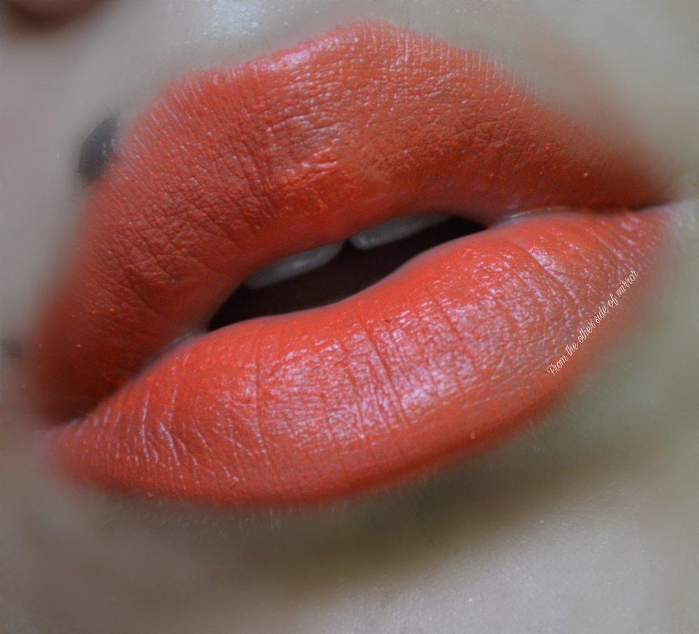 MM Makeup Lip Varnish - MM Orange (Lip Swatch)
