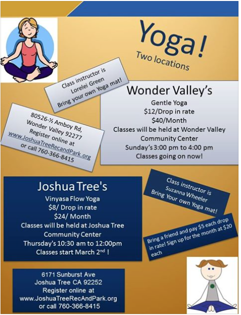 Yoga Class Wonder Valley CA - shared by Rent29.com