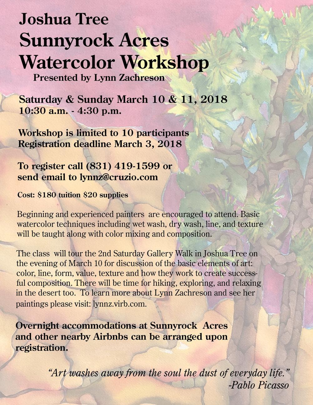 Sunnyrock Acres Watercolor Workshop with Lynn Zachreson