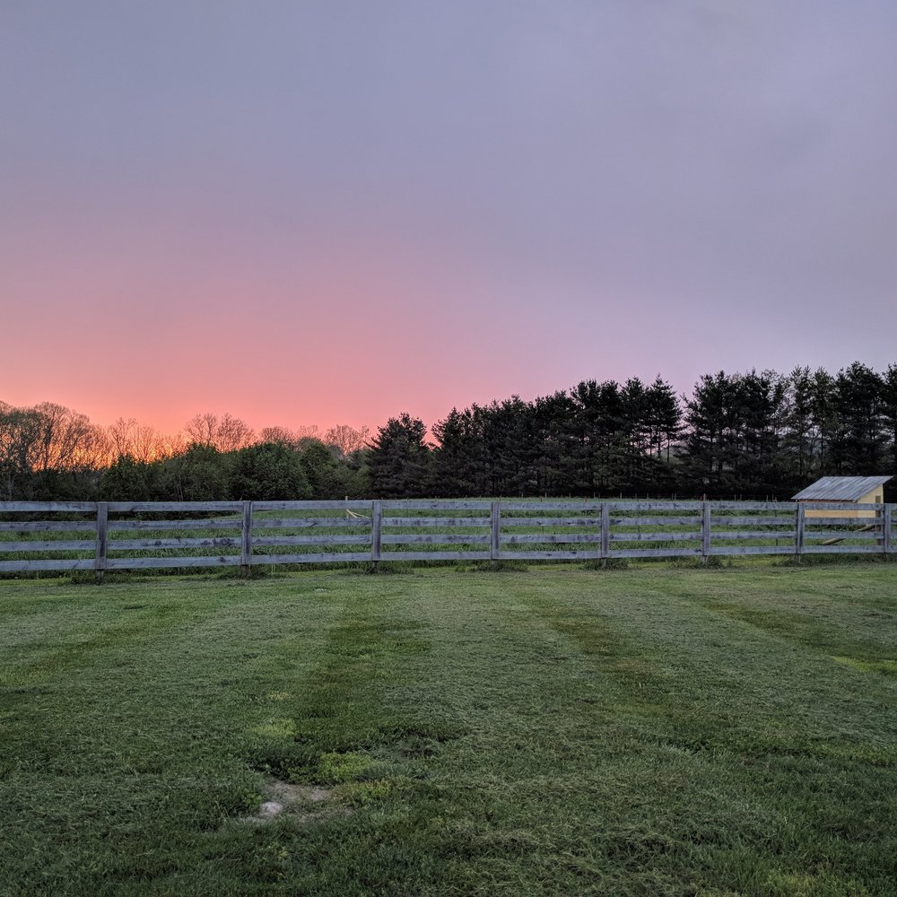 Sunset on Ross Roost Farm.