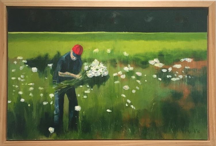 This painting by Vivian Neill features Walter Neill picking flowers. It reminds Karen Mogridge of her time and friendship with the Neills.