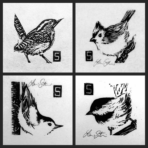 "Laurin Stennis Ink's ""Itty Bitty Bird Set"" framed and available at OTG!"