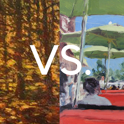 A fall scene by Carole Pigott or a summery patio by Elizabeth Hughes Bass? Why choose when you can have both?