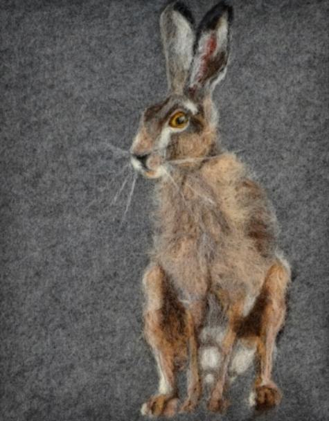"""Hare"" Needle Felt Painting — Pauline Crouse (framed)"