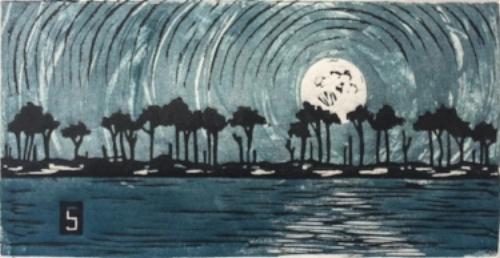"Laurin Stennis  ""Dear Sky"" framed block print."