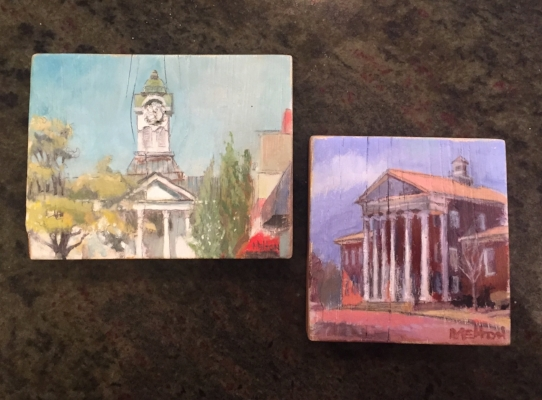 Two small oil paintings on wood blocks by Benny Melton.