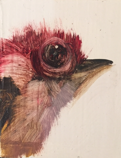 """No Title (Pink Bird)"" // Acrylic on Wood Board ~2x2 :: Diane Kilgore Condon"