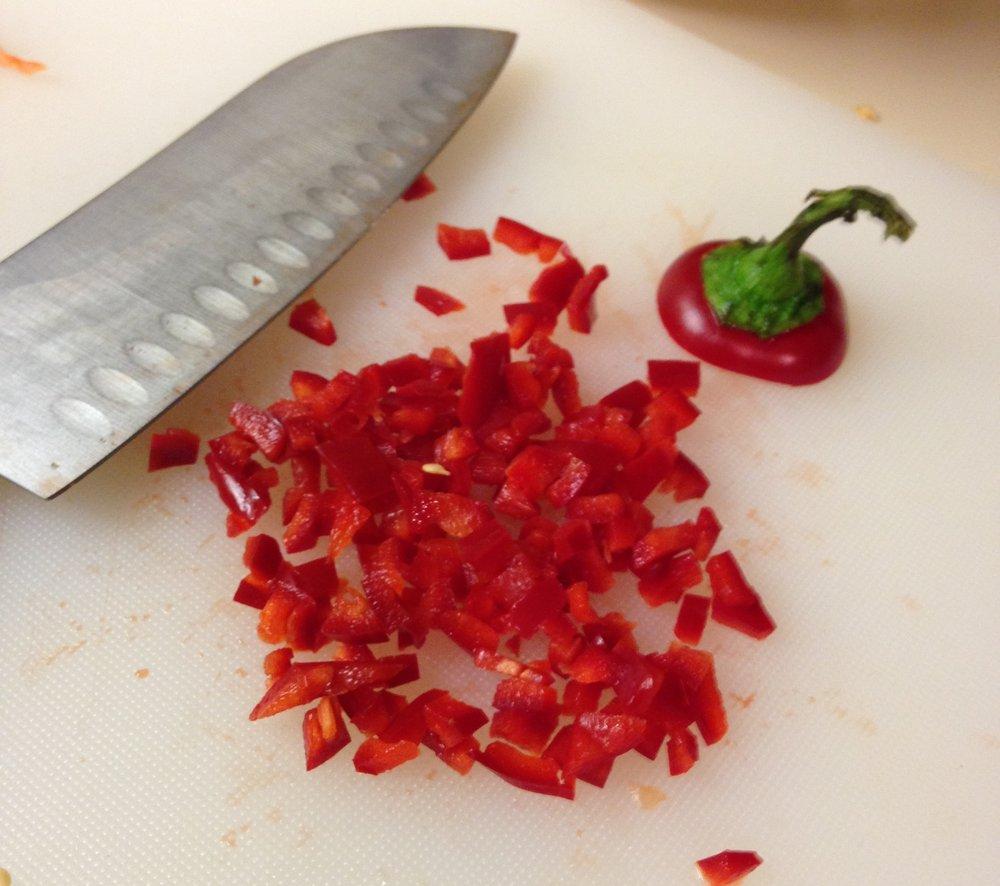 cut up chili pepper