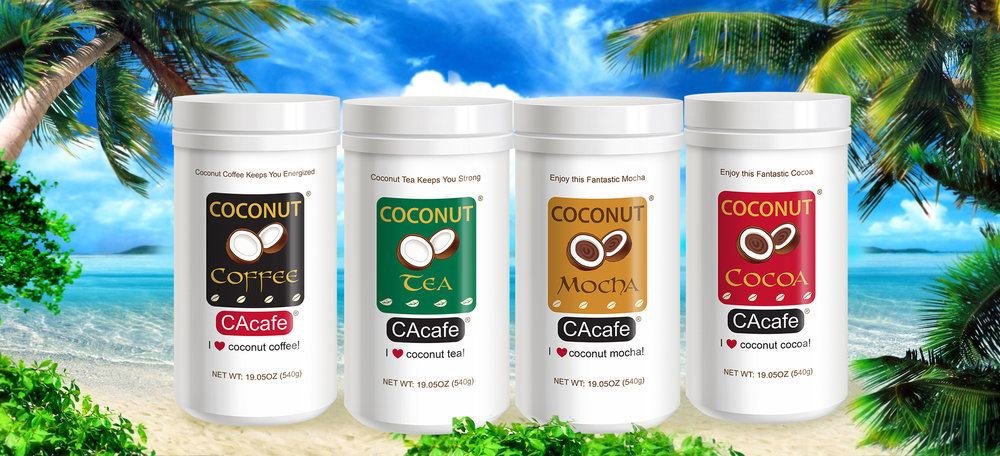 CAcafe real coconut coffee and tea