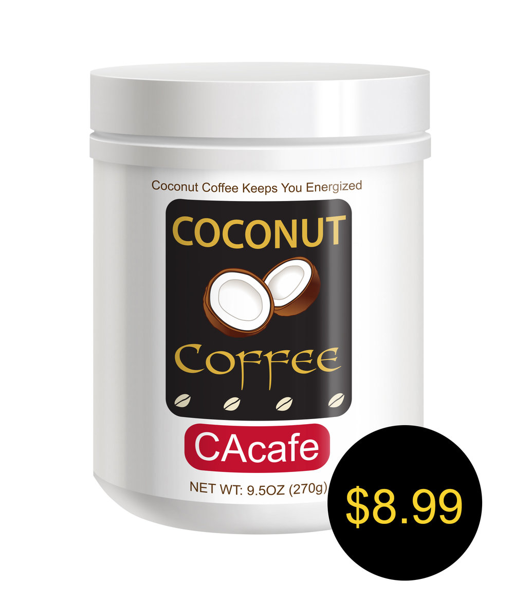 CAcafe coconut coffee mini jar cane sugar added
