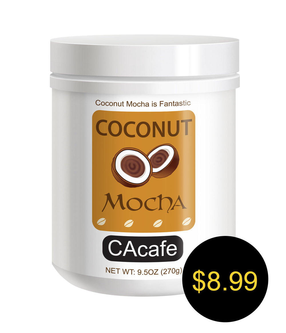 CAcafe coconut mocha mini jar cane sugar added