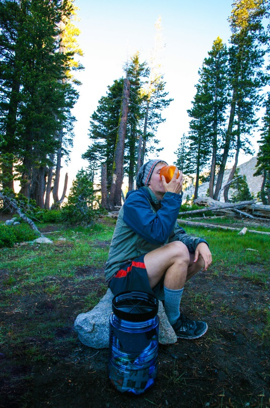 Miranda's brother drinking CAcafe coconut coffee in Desolation Wilderness