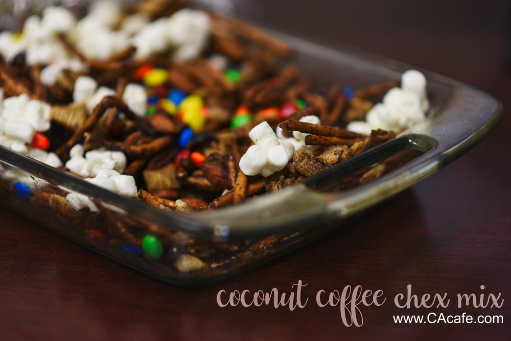 CAcafe coconut coffee halloween chex mix recipe