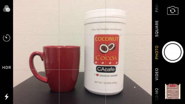 iPhone camera photo grid example with CAcafe coconut cocoa